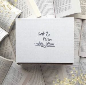 Faith & Fiction Book Box is a themed Christian Fiction quarterly book box! * Each box is made with love, and specially curated with 4-6 themed goodies & a new Christian fiction release.